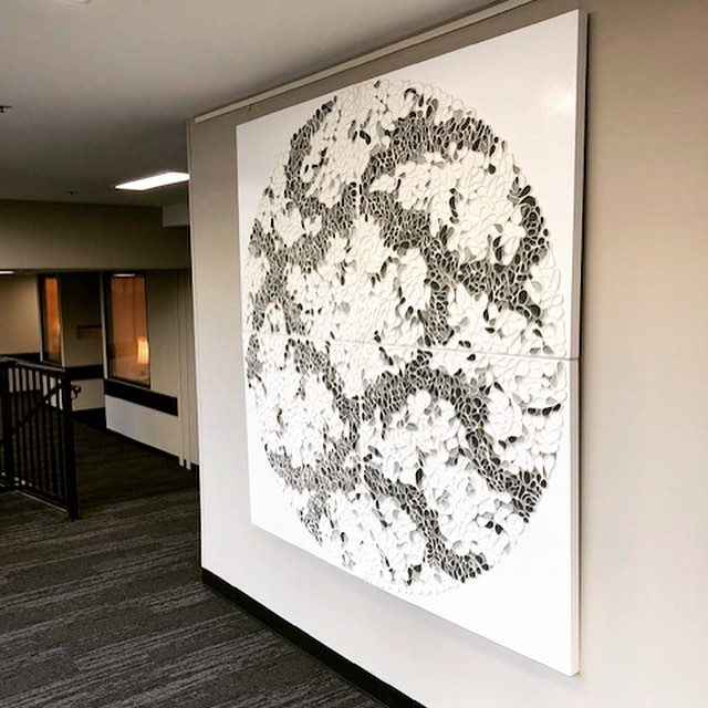 "Paintings out in the world. Two pieces installed at Opera Plaza in San Francisco today. Both are 72""x72"" (182x182cm) from Braided and Follow The Line series. Special thanks to Lisa Lee Smith for arranging this installation. . . ."
