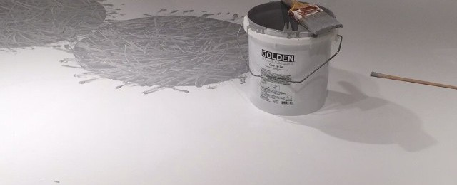 A productive day circling a blank canvas #brianhuberart #abstractart #openstudios #sausalito