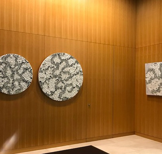 "Art on walls: Pieces from my ""Braided"" and ""Follow the Line"" series have been on display in the lobby of 455 Market Street in San Francisco. Enjoyed seeing the grouping of multiple round pieces in this lobby setting. Thanks Lisa Lee Smith for the great placement and opportunity to show my work. .These pieces are all available - DM me for sizes and information. . . . . ."