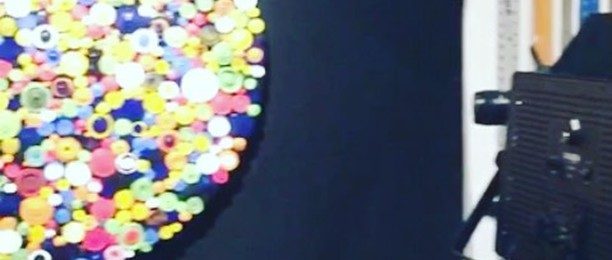 """Back in the studio: quick vid of new circumference series 35"""" (.89m) round piece. What do you think the title should be? Three upcoming shows are now on the calendar including Spectrum during Art Basel in Miami. Stay tuned for more art vids and pics of the finished pieces. ."""