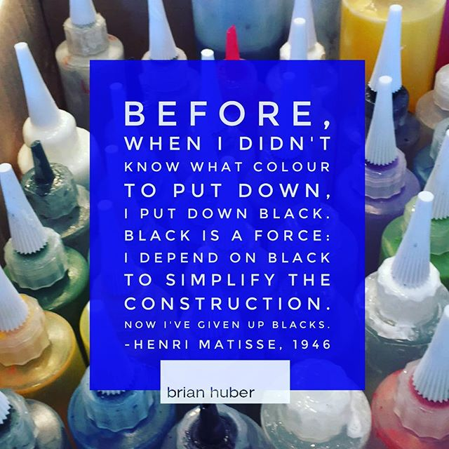 "Color quote from the master Matisse ""Before, when I didn't know what colour to put down, I put down black. Black is a force: I depend on black to simplify the construction. Now I've given up blacks."" Henri Matisse, 1946. . In honor of the amazing Matisse -Diebenkorn show at @sfmoma . . ."