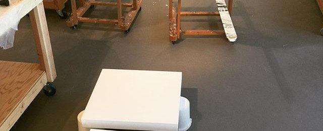Day in the life – Base coat day in the studio. A few layers of gloss medium gets everything started. New work on the way.