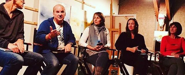 "Fun to be included on an artists panel discussion of ""Instagram for Artists"" hosted by the @icbartists in Sausalito. Learned about storytelling and artistic presentation from my fellow artists. Thanks to @bibbygart and the @icb_winter_open_studios for organizing the evening. .. . @andrew_faulkner_art ・・・ Great Instagram talk @icbartists by @nicholaswilton @katezimmerart @elleluna @brianhuberart"