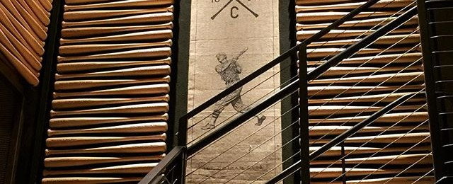 Great shadow pattern on baseball bats in the entrance to the Gotham Club at Pac Bell Park in San Francisco . I love great examples