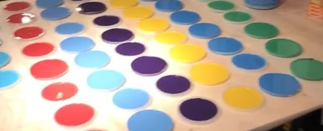 In the studio: Last project hits the tables before @icb_winter_open_studios this upcoming weekend. 10 colors poured in dot dot dot and circle ️ land. Squeezing in some late night studio time before 3 shows in a row. Thanks for following my art adventures on Instagram. Stay tuned for more vids from the studio. Hope to see you at @icb_winter_open_studios this Friday through Sunday. . . . Three upcoming shows: . @icb_winter_open_studios December 1-3 in Sausalito.