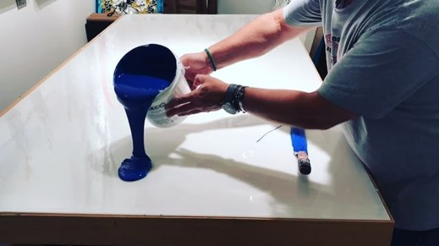 In the studio: Luscious blue extravaganza! Another round of pouring gallons of @goldenpaints gels and paint on every available flat surface! 4 to 5 days for these pours to dry and I'll have some of the materials to get started on next painting . . . . .