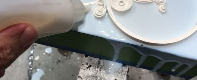 In the studio: Quick vid of putting the 1st coat on the edge of a small test piece. Color fills are next. This is one of the prototypes for a number of pieces for upcoming shows and clients. Stay tuned for more art vids of the finished pieces. Thanks for following and commenting. . . .