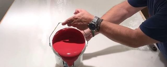 In the studio: Timelapse video of lots of rich red and some pink too. Paint pour and paint skin production is in full gear. Two more colors to go to the end of this round of pouring gallons of @goldenpaints gels and paint on every available flat surface. Stay tuned…. . . . .