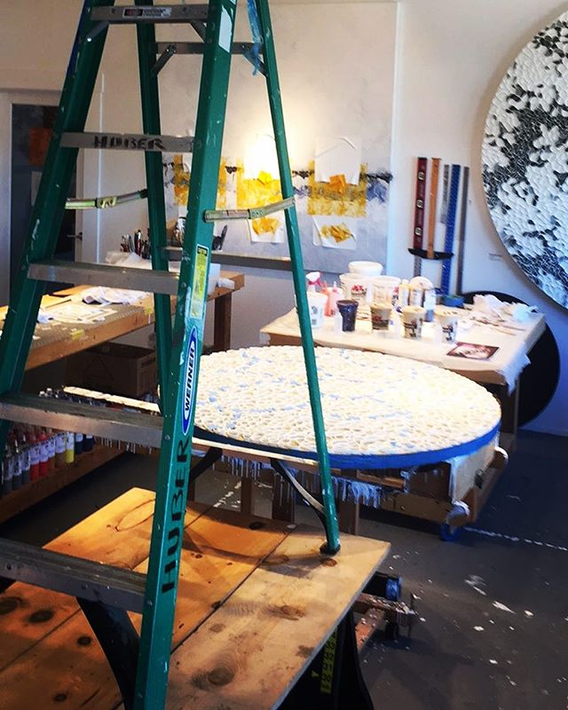 In the studio: ladder on top of sawhorses what could possibly go wrong? Set up for timelapse or accident - could go either way. Glamorous in the studio life of an artist continues.... . . .