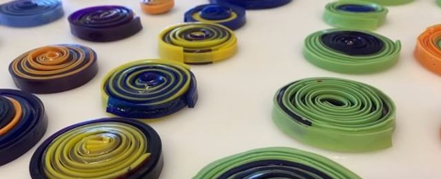 In the studio: these paint pucks were so organized I thought I better shoot a quick video before they jumped on a canvas or rolled off the table. Cranking up the speed on making hundreds of these rounds. Great to be back after a summer studio break and working on a number of pieces for upcoming shows and clients. Stay tuned for more art vids of the finished pieces. .