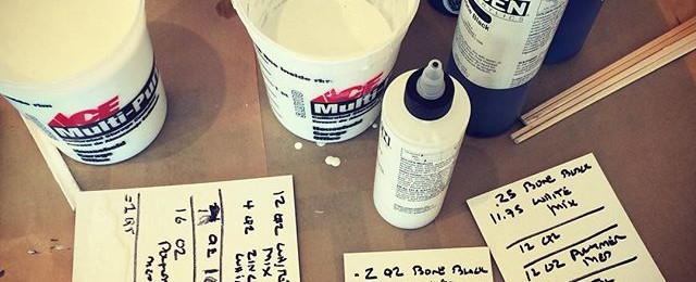 It's a grey day in paint mixing land. For biggest pieces it take a few gallons of gels, liquid colors and mediums. Now comes the