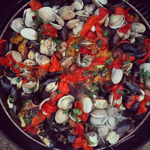 Paella in the round of course. On the grill smoke flavored goodness.