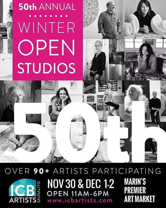 Please join me and my fellow artists for the 50th anniversary of WINTER OPENS STUDIOS (WOS) - one of the nation's most creative art-work spaces and artist collectives located at the Industrial Center Building (ICB) in Sausalito. My studio is on the 2nd floor studio 275.. . The historic ICB is home to over 100 artists creating fine art in various mediums including photography, film, fiber, painting, printmaking, animation, jewelry, drawing, sculpture, new media and more. This year over 90 artists will participate, and we invite you into our studios to learn more about our art and our process. Winter Open Studios (WOS) has been a tradition since 1968 and we hope you will join us this year! . . . Nov 30 | 11am-6pm Nov 30 - ARTIST PARTY...you're invited! | 6pm-9pm Dec 1 | 11am-6pm Dec 2 | 11am-6pm . #. . . . The ICB is located in Sausalito's picturesque Marinship District at 480 Gate Five Road. Our event is free to the public, has free parking and is ADA accessible (on the bay side).. . .