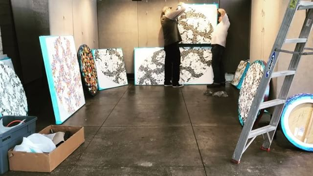 SF Open studios show setup timelapse. . This weekend -You are invited to visit my open studios show in S.F. I and five other amazing artists will be showing in the SOMA /Mission Bay area of San Francisco on Artspan @artspansf Weekend 4: Show Dates: Saturday November 4 and Sunday November 5th 2017 11:00 am to 6:00 pm Location: Mission Bay Park Pavilion 290 Channel Street San Francisco CA