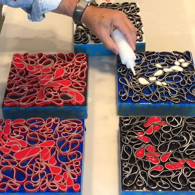 Sample Saturday ! Another quick timelapse of the fill process with five small sample pieces. These tiny ones take as much prep and effort as the big boys. Adding the color transforms the look and rhythm in pleasantly amazing ways. Onto bigger pieces this afternoon. I'm available for commissions large and small. Here's to cranking up the music and letting the work flow. . . .