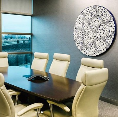 "Thanks to @adcfineart for this commission placement at VonLehman in Cincinnati. I appreciate the representation by ADC and special thanks to the partners at VonLehman that incorporate original art as an integral component in their offices. 47"" (129cm) round from the braided series with a custom palette. . ."