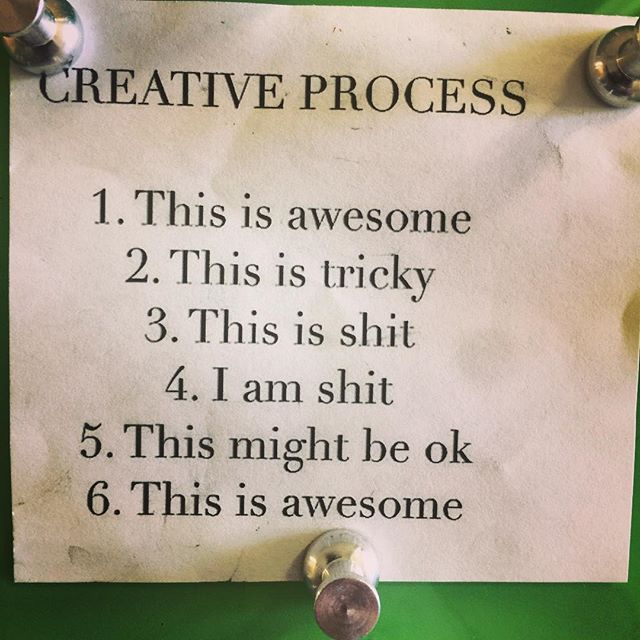 This is awesome! Happy Sunday to all the art folks riding the creative roller coaster - from a spark of an idea to this is shit to it may be awesome ! This note is posted in the hall near my studio by artist @dandiart and makes me laugh every time I read it. Enjoy the ride. . . .