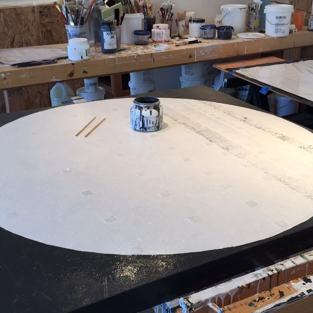 Time lapse painting in circles going round and round and round. The start of a new piece on top of an old piece.