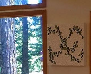 """Today in the studio: Braided series piece """"Braid Bars"""" in its new home in the Northern California redwoods. #brianhuberart #abstract #art #artstudio #abstractartist #artstudio #californiapainter"""