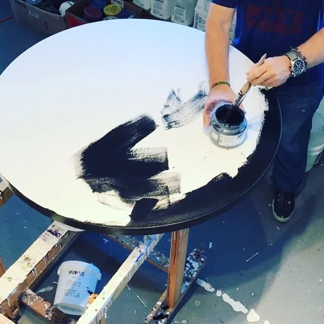 Today in the studio: It's black gesso and black undercoat day ! Quick time lapse video of one of at least 4 undercoats. @goldenpaints is my go to for all my work. A couple of hours to dry and on to the next step. .. .