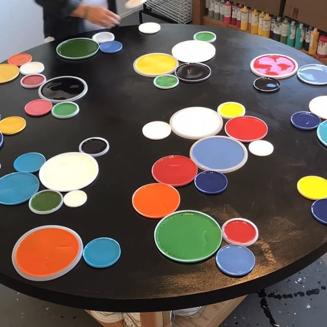 "Today in the studio: Trying out a quick and loose layout on a new 60"" round. Estimated amount of colored rounds was close. This piece is for my January @startupartfair show in Venice Beach - Los Angeles. . . Winter Open Studios starts tomorrow morning here in Sausalito @icb_winter_open_studios Still jamming in as much work as possible prior to kick off tomorrow's morning and opening party tomorrow night. Crazy week then off to @spectrummiami on Tuesday where I'm showing in booth 811. . . . . ."