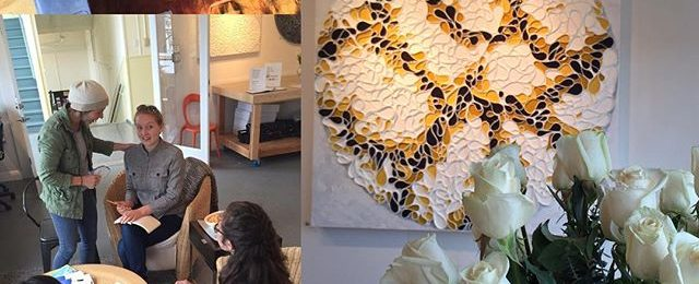 Today in the studio: weekend one of Marin Open Studios includes a visit from Fast Forward student reporter crew. Lots of folks out and about