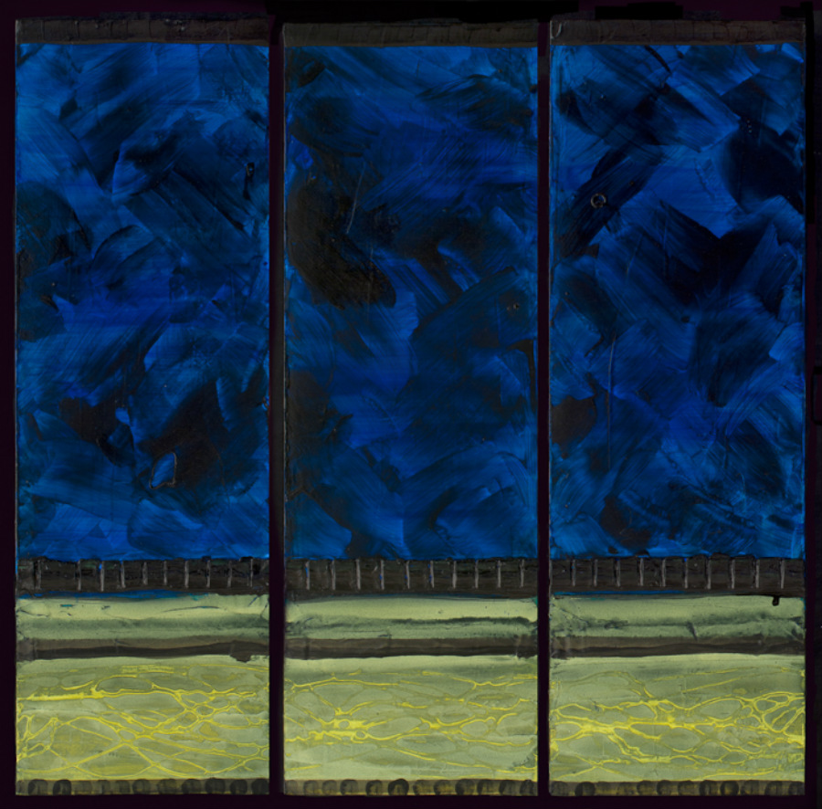 Water Under the Fields - Triptych 2011 Acrylic on Canvas 36  x 36 $900