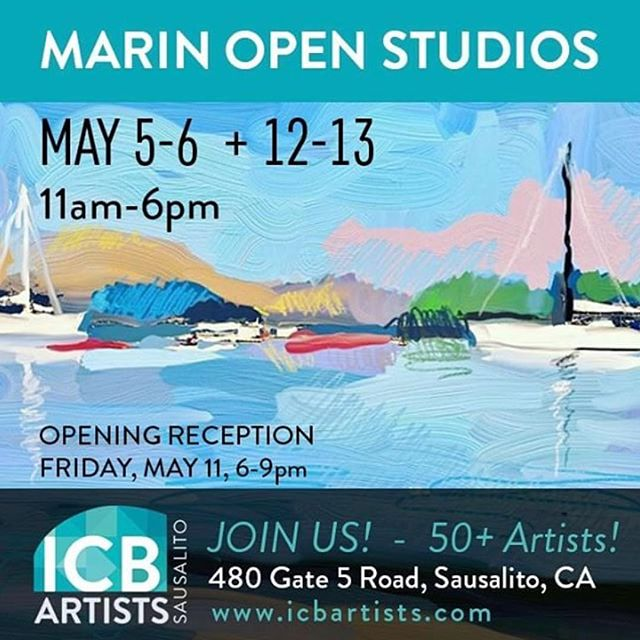 You are invited - Marin Open Studios starts this weekend. Saturday and Sunday May 5th and 6th. Over 50 @icbartists will be open including my art studio . 11am to 6pm. Location: 480 Gate 5 Road Sausalito Ca. 94956 Stop in and check out artists in theirs studios - lots of free parking - kid and dog  friendly too! This is the 1st of two weekends for Open Studios. . . .
