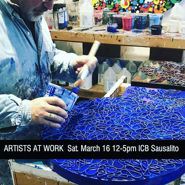 Join us for ARTISTS AT WORK at the ICB in Sausalito . Tomorrow Saturday, March 16th from 12-5pm . This is a working open studios, we are not cleaning our studio...we are doing our craft, showing our process, our works in progress and what it's like behind the scenes! I hope you can join us! There will be approximately 50 artists open including my art studio #275.  The ICB building in Sausalito is home to over 140 artists who work in various mediums including painting, photography, sculpture, jewelry, weaving, basketry, new media, fiber art and more.  Free Event Lots of Parking Family Friendly  ICB 480 Gate 5 Road  Sausalito CA 94965 . . .