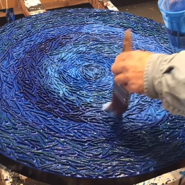 ️ Friday morning in the studio: Time for two more blue translucent layers on top of layers of cobalt blue... Time lapse mode continues with 5th and 6th rounds of color and translucent coats. Finally getting the underlying color bands to recede. Next varnish coats and  The creative adventure continues  mostly involving waiting for blue paint layers to dry.  Stay tuned for more art vids. Thanks for watching and commenting on my work. . . . . . . . . .