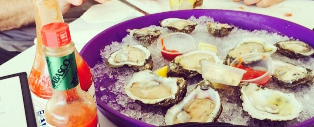 Breakfast- oysters on the half shell #ersters #jazzfest #newawlins #greattobehome #brianhuberart #notatwork