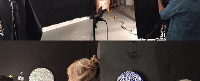 Full day of photography in studio. Judy Reed loves the challenge of shooting my all black paintings that need the texture and shadows to pop.
