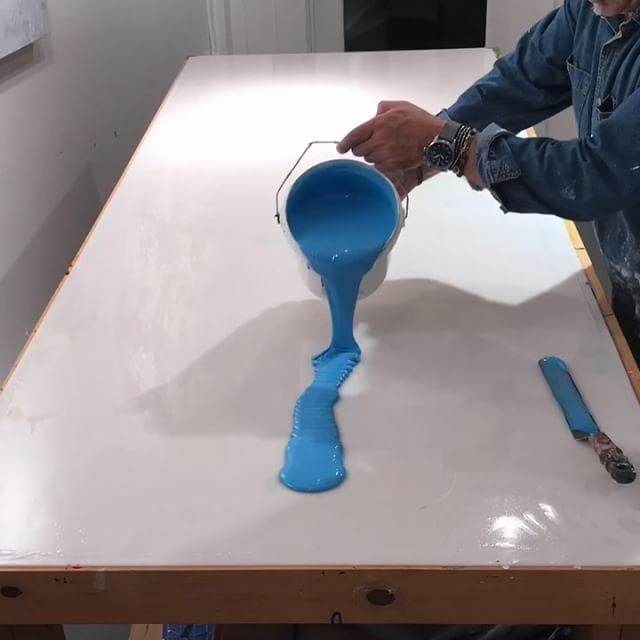In the studio: It's an Aqua all the time paint pour extravaganza at some single layer and multiple layer pours. For you folks that have been watching I'm a bit more than halfway done if the days and days of production on these. Stay tuned for more fun rounds of pouring gallons of paint  on every available surface. . . . .