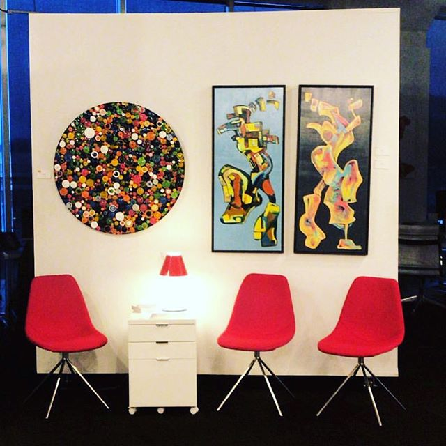 "Love seeing one of my art pieces from the Circumference series being displayed in an interesting setting. Repost from the recent ""Power of art in a retail setting"" presentation by @spanoslitsa at @adcfineart in Cincinnati for the Retail Design Institute meeting. .and yes I could not agree more how much original art will dramatically enhance a retail setting. . . .. ."