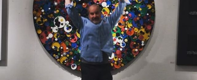 "Today in the studio Jumping for joy: let's get this art party started. Come visit my studio starting Friday during Open Studios at @icbartists This ""Circumference Series"" piece and other new work will be on display and ready to go home with you. . Winter Open Studios starts at 11 am and runs to 6pm daily – Friday November 30th through Sunday December 2nd. This is a free and fun event. . Our kickoff party"