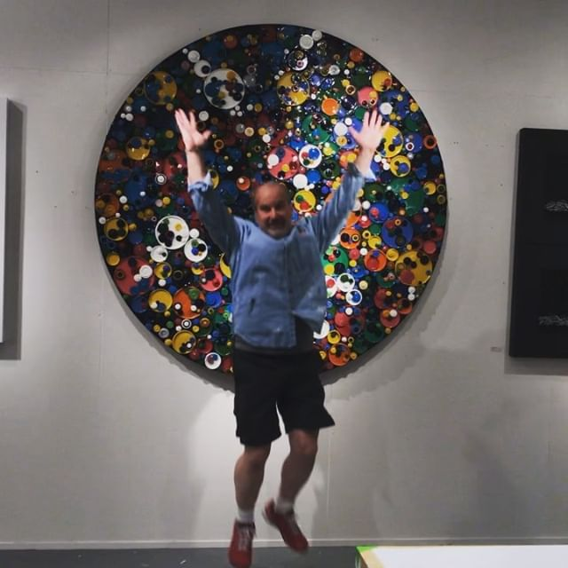 "Today in the studio Jumping for joy: let's get this art party started. Come visit my studio starting Friday during Open Studios at @icbartists This ""Circumference Series"" piece and other new work will be on display and ready to go home with you. . Winter Open Studios starts at 11 am and runs to 6pm daily - Friday November 30th through Sunday December 2nd. This is a free and fun event. . Our kickoff party is Friday night from 6 to 9pm. Hope to see y'all this weekend in Sausalito. 90 amazing artists will have their studios open during this annual art market event. . . 480 Gate Five Road Sausalito Ca 94965 . I'm on the 2nd floor in Studio 275 . . . . ."