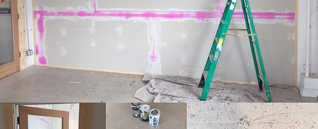 Today in the studio: getting ready for a new artist tenant to move into the corner studio. My sheetrock finish skills are a bit rusty