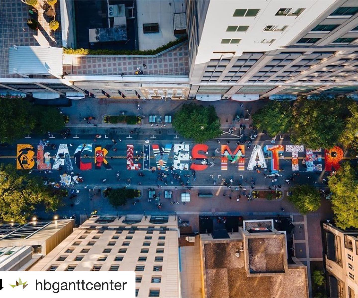 Amplify and repost from  @hbganttcenter ・・・ Black Movements Expressed Through Art Truly are Forever. Thanks to the @hbganttcenter for listing all artists for each letter( see below) . . . ARTISTS B- @dammit_wesley  L- @dakotahaiyanna  A- @shin.tytsumaki  C- @artbyabel  K-@2gzandcountin  L- @arko.clt @owl.clt  I- @thekylemosher @tragiczack  V- @fk.creative @lovoniaparks  E- @kmuiii  S- @marcus_kiser @jason_woodberry  M- @gardenofjourney  A- @matthewclayburn  T- @frankie.zombie_  T- @chdwckart  E- @jagolactus_  R- @daricalamari . .  Drone Imagery - @iamdonaldwilson and @maleekloyd . .  .