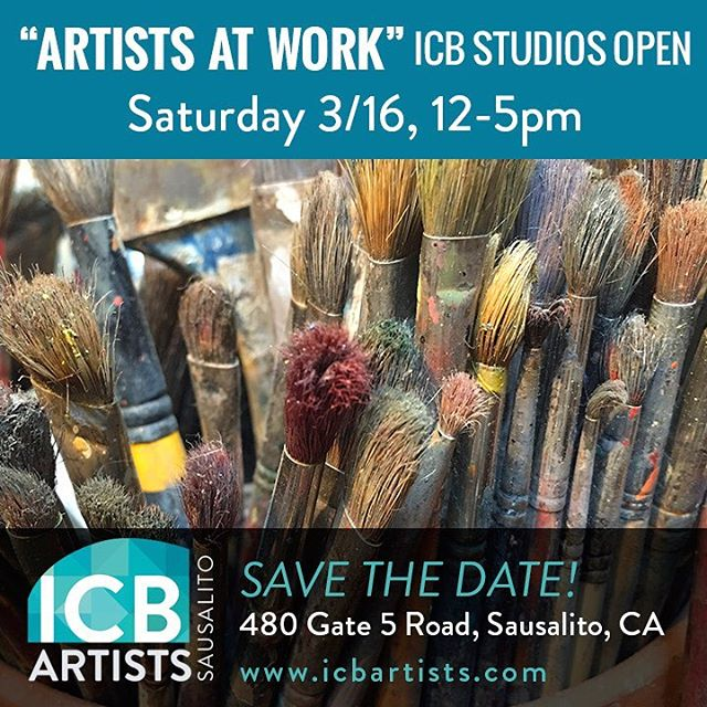 Come visit my art studio during our 2nd annual ARTISTS AT WORK! event.  Visit 50+ ICB artists as they work in their studios, mess and all! Please come see us in action--wildly creating--that's what we do. The ICB building in Sausalito is home to over 140 artists who work in various mediums including painting, photography, sculpture, jewelry, weaving and more. We hope you'll join us!. . ICB 480 Gate Five Rd. Sausalito Ca 94965 . .