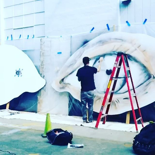"""Definitely not in the studio today! collab with @3nolam on a mural and interactive art install project in San Francisco. is bringing my concept for these giant eyes to life. The eyes will be suspended in the alley to complete a """"See the World"""" piece I conceived. Alley will be filled with San Francisco and travel themed murals and interactive pieces. Stay tuned for some progress pics. . ."""