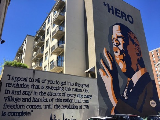 """Hero indeed - thank you John Lewis for your never wavering service to this country and always appealing to our better angels. Rest in power sir.  . . .  John Lewis Mural in Atlanta - in honor of civil rights hero John Lewis. Mural was painted by artist Sean Schwab @thelossprevention Dedicated in 2012 and is located at the corner of Auburn Avenue NE and Jesse Hill Jr. Drive NE .  . John Lewis was one of the """"Big Six"""" leaders in the American Civil Rights Movement and chairman of the Student Nonviolent Coordinating Committee (SNCC), playing a key role in the struggle to end legalized racial discrimination and segregation. He was elected as the U.S. Representative for Georgia's 5th congressional district in 1987, and was the dean of the Georgia congressional delegation.. . ."""