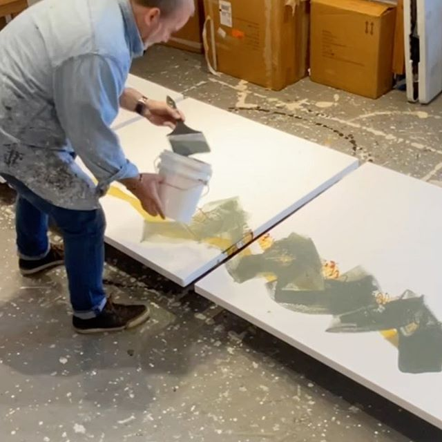In the studio: 2nd layer of broader marks and warmer colors as part of the gestural underpainting. 48x144 (121x365cm) triptych. The layers in the under painting will include gestural scraping and wide brush patterns. Goal is to be done for @icbartists Winter Open Studios. December 6th through 9th. Thanks for the follows and comments on Instagram-. . .
