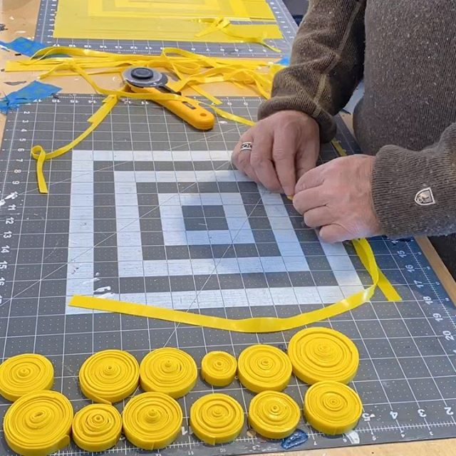 "In the studio: yellow is on the Monday project menu.  One of 14 colors for completing this 72"" round piece. . As promised my IG feed is going to be rather repetitive for next week as I'm going to be making lots and lots of these small paint pucks. Finally pushing to complete a piece that I've been working on sporadically for a couple of years. This is a quick time lapse of about 1 hour of  studio time. . ..getting work done for the upcoming Winter Open Studiis in early December. . ."