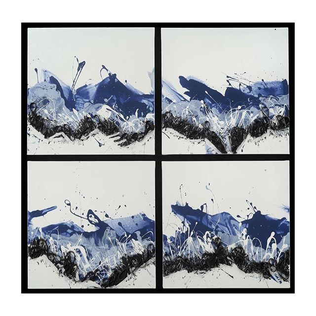 """New piece from a new Flow series I'm working on this year.  Incorporating some of the same fluidity from the braided series. . Pamlico Sound – Flow Series - 40″ x 40″(101x101cm) (4 Panels) Acrylic on canvas. can by hung in Swayne as shown or four panels horizontally. (20""""x 80"""")Piece is available in studio. Please DM if interested. Other piece for same series at Brianhuberart.com . Happy Friday y'all. . ."""