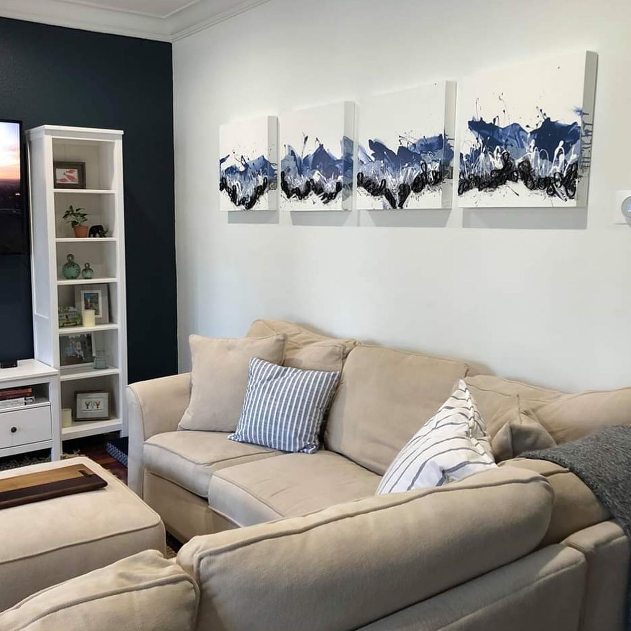 """Pamlico Sound from my Flow Series has found a new home in Orlando. And yes you too can select a painting for your new home via zoom. So happy to be part of @benji529 and @peterjgaspar beautiful new home.  . 20"""" x 80"""" (4 Panels) (50 x 203cm)  . . ."""