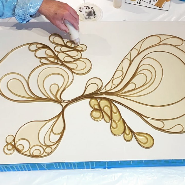 Scaling the gold exploration up a bit. Laying in two shades of gold color pours for a bit more movement in the finished piece.  . . Happy Tuesday. Stay safe y'all.   . . . . . . .