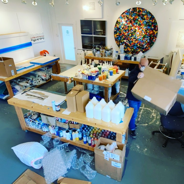Studio clean up and organizing in turbo timelapse mode.  Includes unpacking 14 gallons of @goldenpaints gels and  mediums. Jumping into two large commissions this week. I'm very grateful that projects are moving forward and there is artwork to be done.  . . . . . .