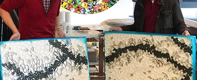 "Studio visit Sunday: ""Valley Floor"" from my Braided Series is off to a new beautiful new home in Santa Barbara. Always love folks visiting my studio to select the perfect piece for their home. This piece is a 36″x 72″ (diptych) and part of the series based on the braided rivers in Denali National Park. . . ."