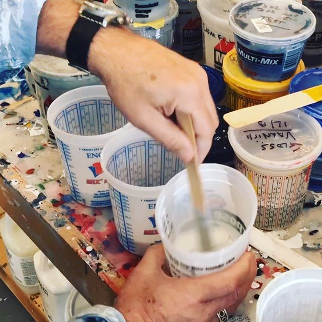 Today in the studio: Liquid acrylic mix day. Perfecting the liquid acrylic and acrylic medium mixture formula. With all the rain ️ pieces have not been drying to the finish I like. Testing out a slightly different mix and hoping for better results. Painter ‍ or mad scientist 🧪 somedays both. .. . . . . .