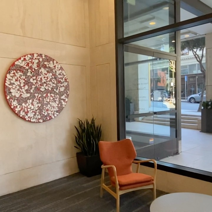 """Two pieces in the lobby of 655 Montgomery St in San Francisco. Thanks Lisa Lee Smith @Lisalee.Smith for this great placement.  The red and black piece is a 48"""" round """"In the Parish"""" from the Braided series. The other piece is a 36"""" round """"Square Root"""" from the Circumference series.  DM for pricing.  . Please contact me for available work or a commission for your home or office.  . . . ."""